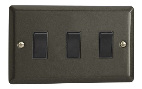 Varilight XP93B Classic Graphite 21 3 Gang 10A 1 or 2 Way Rocker Light Switch (Twin Plate)